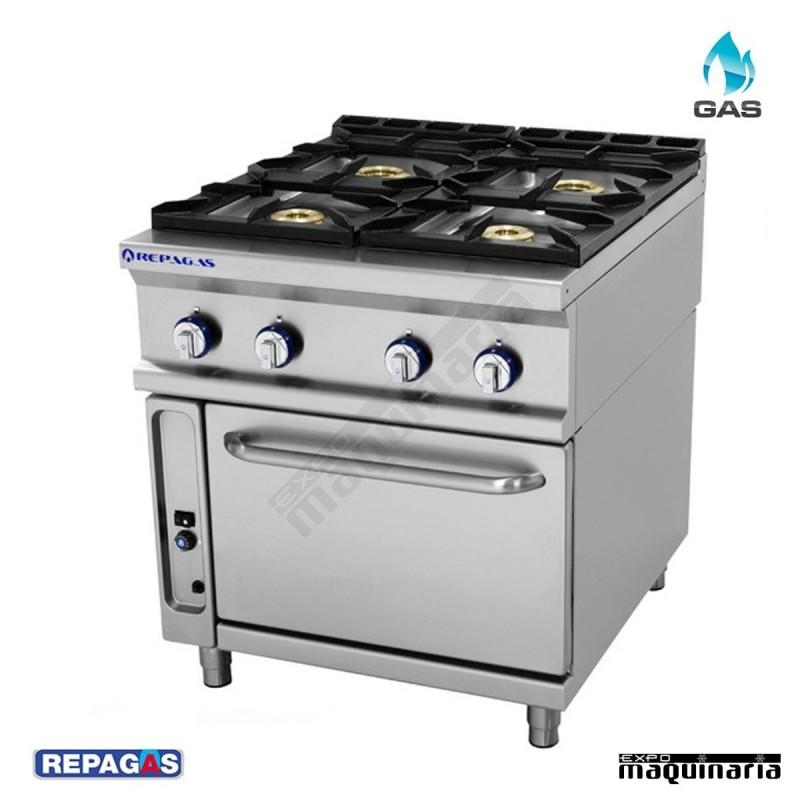 Cocina industrial repagas rgcg741 4 quemadores gas y horno for Fogones industriales a gas
