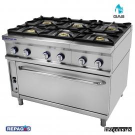 Cocina industrial Repagas RGCG-961H seis quemadores con horno