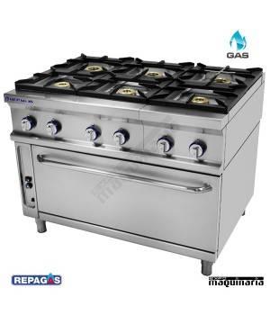 Cocina industrial Repagas RGCG-961H seis quemadores de gas con horno industrial
