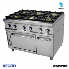 Cocina industrial Repagas RGCG961 seis quemadores de gas con horno industrial