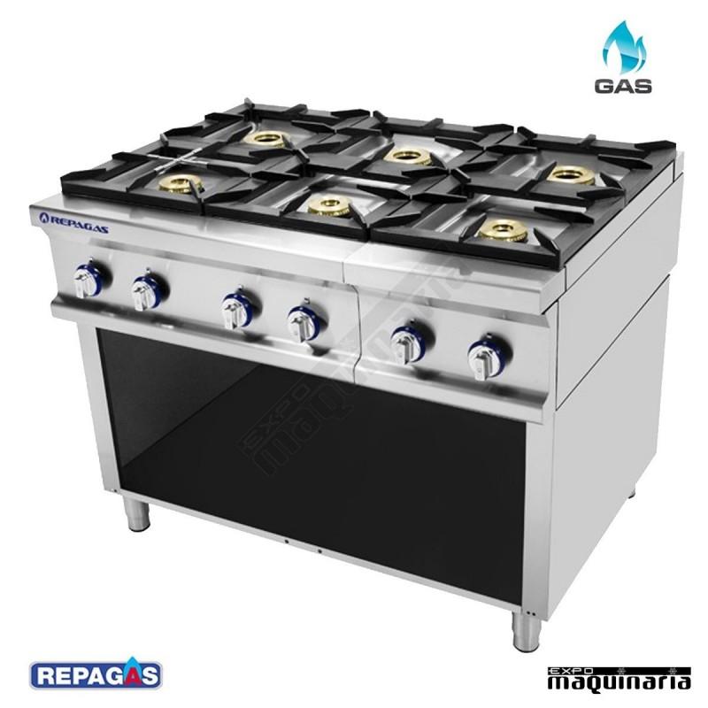 Cocina industrial repagas rgcg 960lc seis quemadores de gas for Fogones industriales a gas
