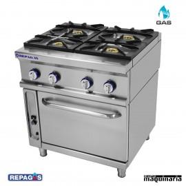 Cocina industrial Repagas RGCG-941 cuatro quemadores de gas y horno