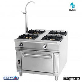 Cocina industrial Repagas C-1141 cuatro quemadores de gas y horno