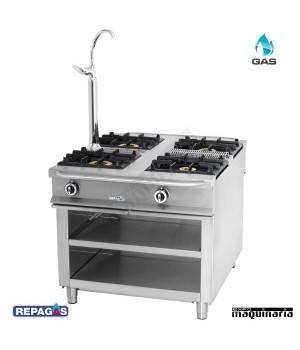 Cocina industrial Repagas C-1140 4 quemadores gas con Grifo