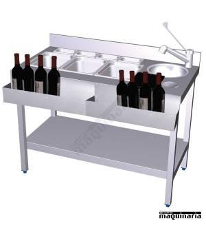 Mesa de Coctelería con 2 botelleros frontales
