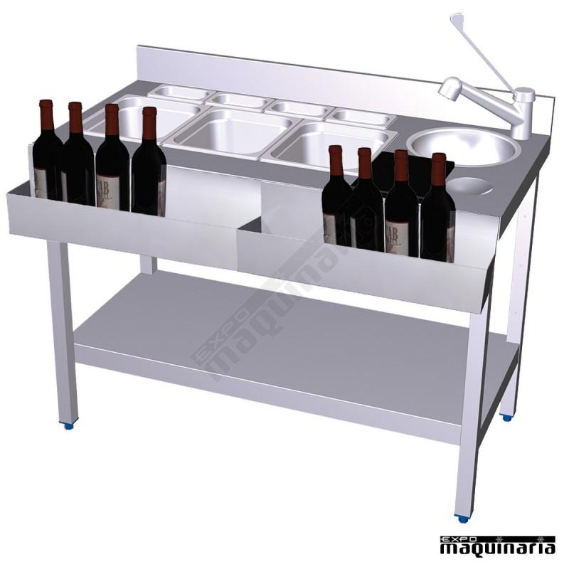 Mesa de cocteler a con 2 botelleros frontales de acero inox con grifo - Botelleros para bares ...