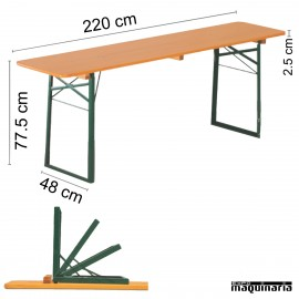 Mesa plegable con bancos de catering CLASSIC - mesa