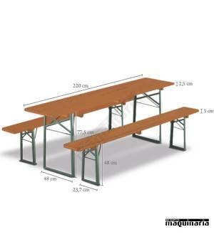 Mesa plegable catering con bancos de madera DOLOMIT