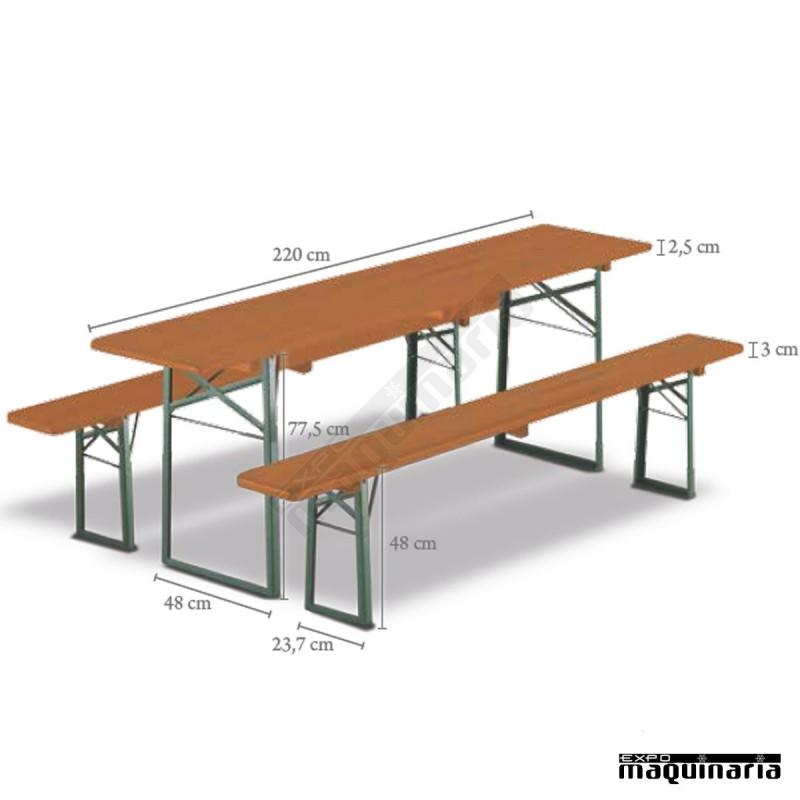 Mesa plegable catering con bancos de madera dolomit for Mesas de cocina con banco