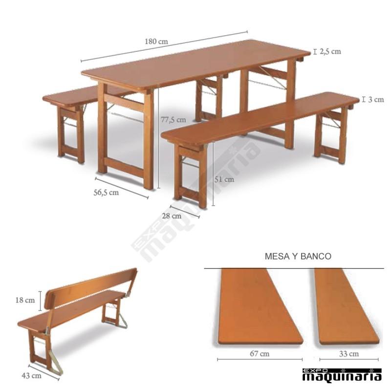 mesa de madera y bancos plegables de catering rustica