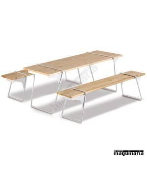 Mesa de madera y bancos desmontables de catering GEHSTELL