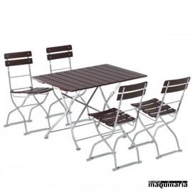 Mesas plegables catering de madera con bancos a juego set for Mesa 4 sillas homecenter