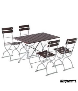 Mesa jardin y 4 sillas plegables beergarden de madera y - Sillas de jardin plegables ...
