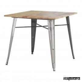 Mesa madera y acero hosteleria DL801M