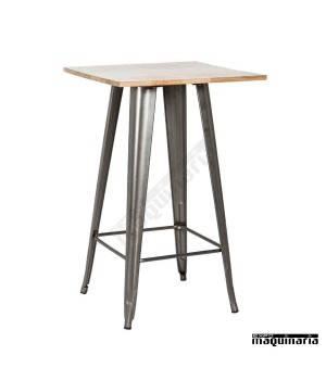 Mesa alta vintage de acero y madera DL802W