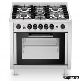 Cocina a gas 5 fuegos con horno eléctrico industrial