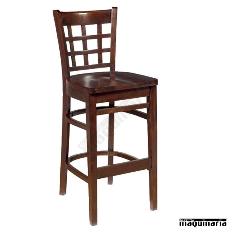 Taburete madera con respaldo im5188 madera de haya y asiento madera - Taburete con respaldo ...