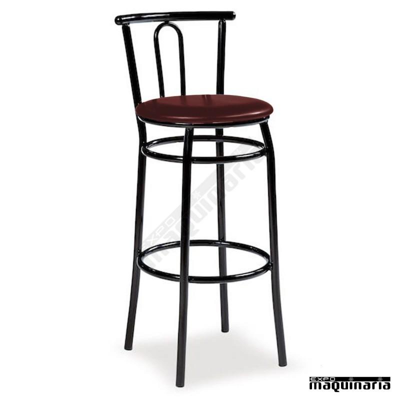 Taburete bar alto asiento tapizado im132t estilo cl sico y resistente - Taburetes bar ...