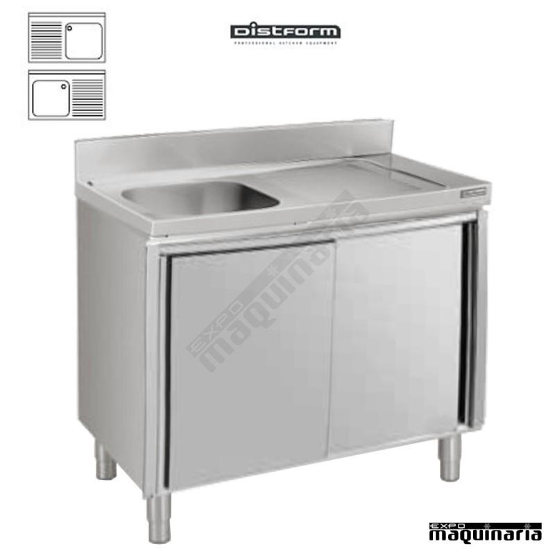 Fregadero con mueble inox 1 cubeta escurridor con puertas - Muebles con fregadero ...