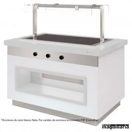 Mesa gastrobuffet vitrocerámica 170 cm encimera blanca nata
