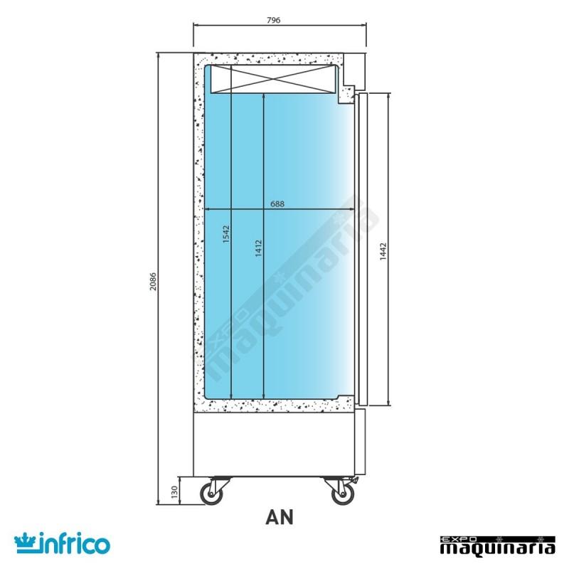 Armario refrigerador inoxidable 1 puerta gn2 1 acero - Armarios de acero inoxidable ...