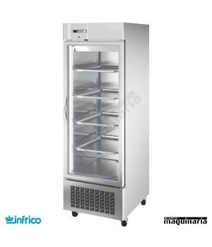 Armario refrigerador inoxidable puerta cristal GN2/1