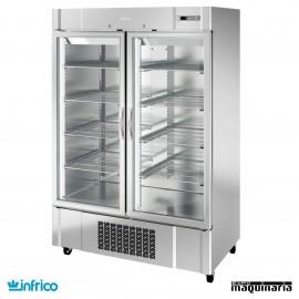Armario refrigerador inox 2 puertas cristal GN2/1
