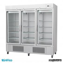 Armario refrigerador inox 3 puertas cristal GN2/1