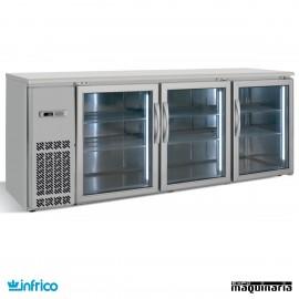 Mesa frente mostrador refrigerado puertas cristal 216 cm