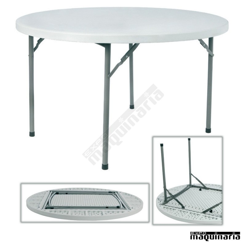 Mesas de catering re rossini 121 5 cm redonda plegable for Mesa plegable redonda