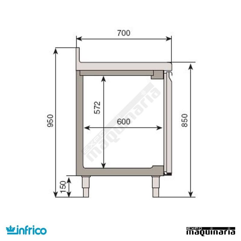 Mesa de refrigeracion con tablero inox para cocina industrial BMGN1470II