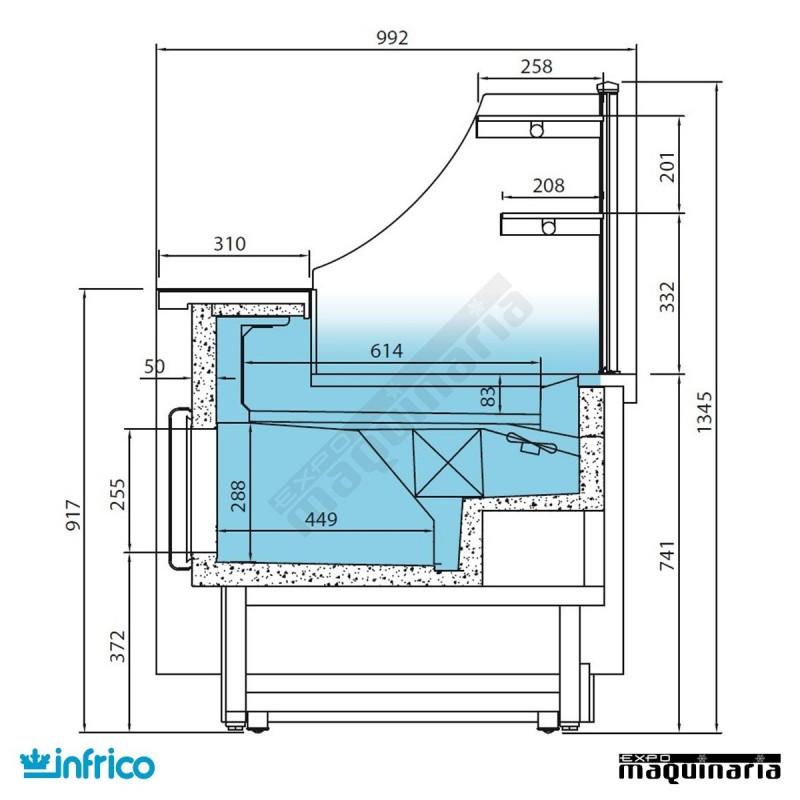 Vitrina pasteler a cristal recto fr o ventilado sin - Vitrina a medida ...