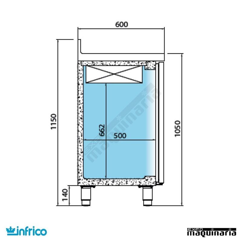 Mesa refrigerada alta con puertas cristal 146 8 x 60 cm for Mesa cristal 60 x 60