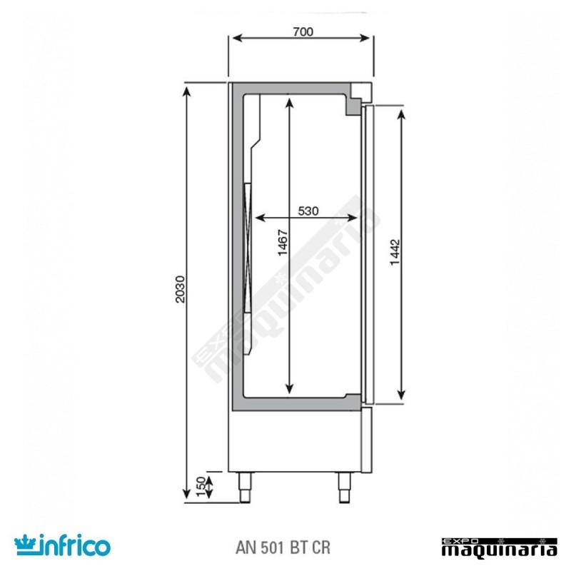 Nevera congelador con puerta de cristal inan501btcr - Nevera americana medidas ...
