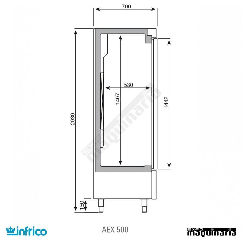 Nevera refrigerador con puerta de cristal inaex500tf - Dimensiones de una nevera ...