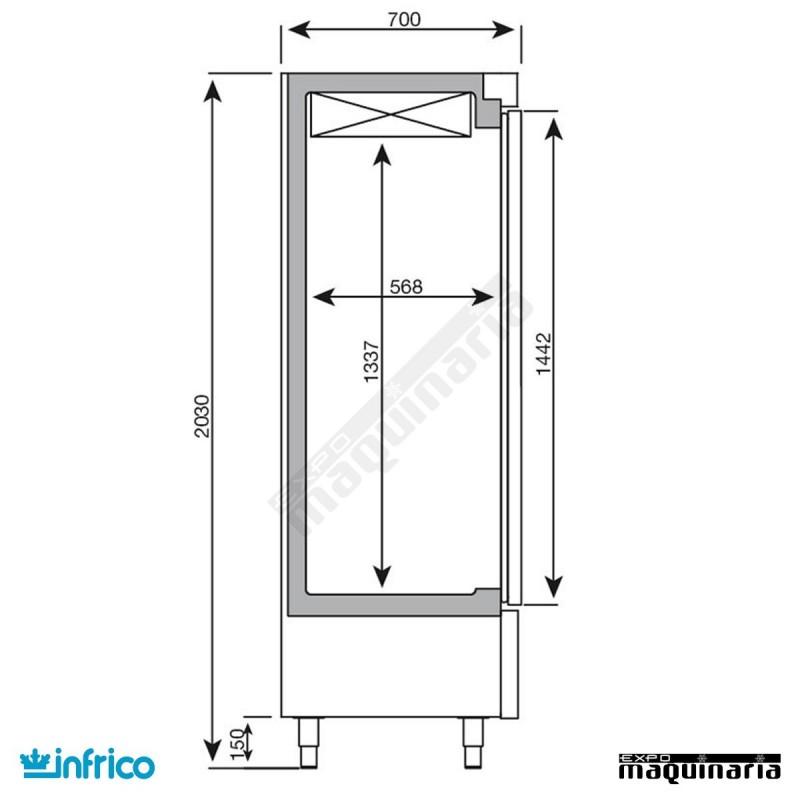 Nevera refrigerador con puerta de cristal inaex1600tf for Puertas galvanizadas medidas