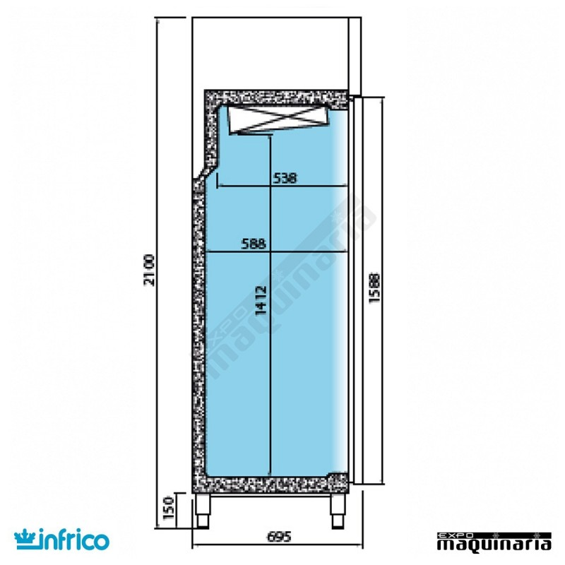 Nevera refrigerador con puerta de cristal inagn300cr - Neveras doble puerta ...