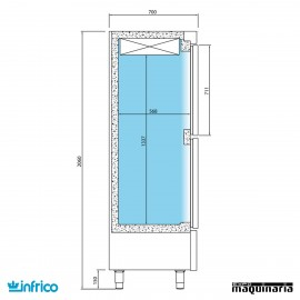 Nevera Vertical Refrigerador Pescado-Normal INANDP1003TF/G medidas