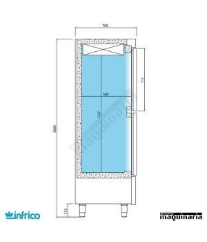Nevera Vertical Refrigerador Pescado-Normal INANDP1003TF/G medidas