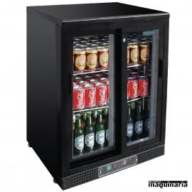 Refrigerador expositor de bar negro puerta cristal 104 botellas