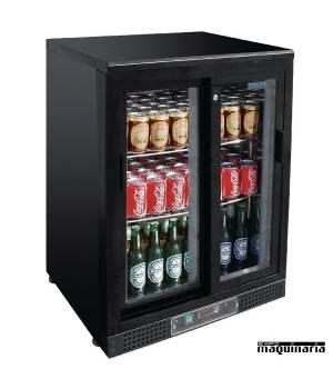 Frigorifico expositor de bar negro puerta cristal 104 botellas