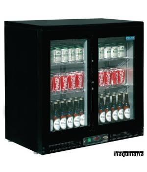 Refrigerador expositor de bar negro puerta cristal 104 botellas NICF759