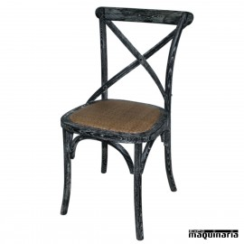 Silla de madera Bolero con respaldo negro lavado