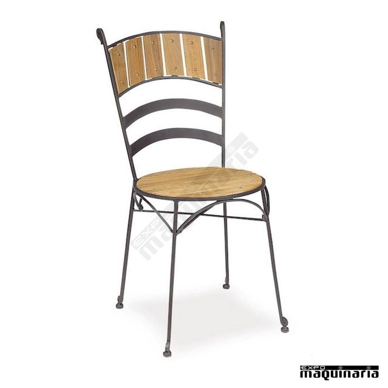 Silla de forja asiento teka im161t de estilo cl sico y - Sillas de forja para comedor ...