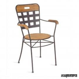 Sillón de madera y forja asiento teka IM371T