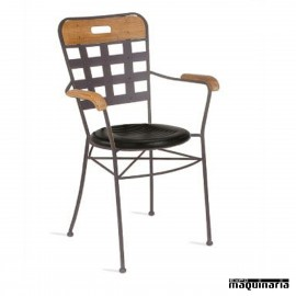 Sillón de madera y forja asiento integral IM371I