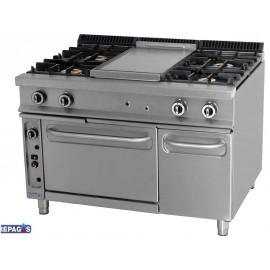 Cocina industrial Repagas C-941/1P cuatro quemadores de gas, horno, y placa