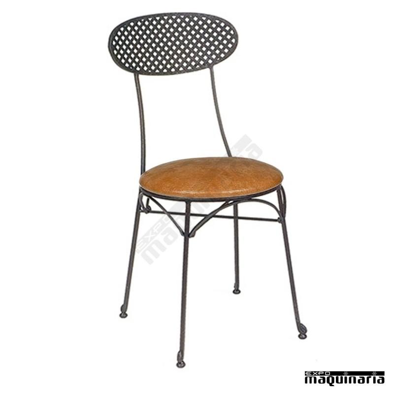 Silla de forja asiento skay y respaldo rejilla im167 for Sillas de forja para jardin