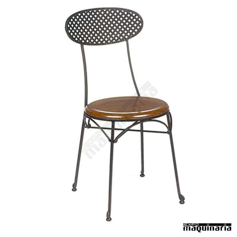 Silla de forja asiento solo con respaldo rejilla im167s for Sillas de forja para jardin