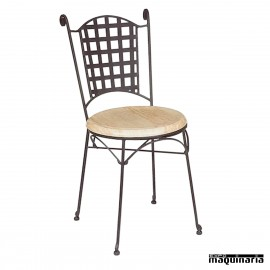 Silla forja asiento SOLO con respaldo cuadros IM169S